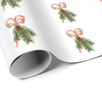 Candy Cane and Pine Bouquet Wrapping Paper