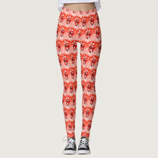 Candy Cane and Snowflakes Christmas Leggings