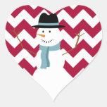 Candy Cane Chevron Snowman Heart Sticker