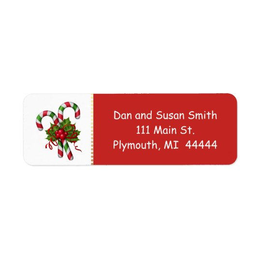 Candy Cane Christmas Address Label