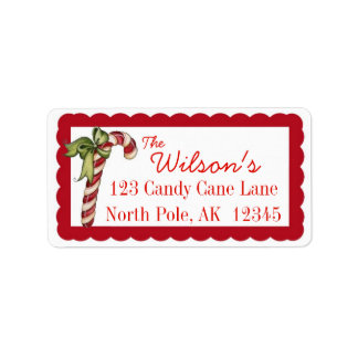 Candy Cane Christmas Address Labels Personalize