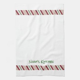 Candy Cane Christmas Border Tea Kitchen Towel