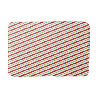 Candy Cane Christmas Holiday Red and Green Stripes Bath Mat
