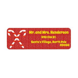 Candy Cane Christmas Return Address Labels