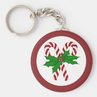 Candy Cane Collection Basic Round Button Key Ring