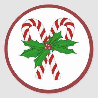 Candy Cane Collection Classic Round Sticker