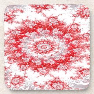 Candy Cane Flower Swirl Fractal Coaster