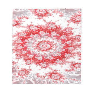 Candy Cane Flower Swirl Fractal Notepad