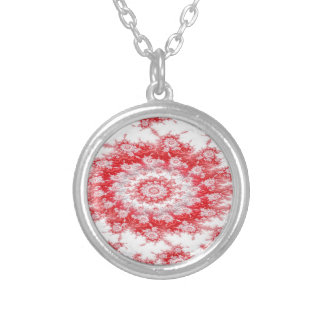 Candy Cane Flower Swirl Fractal Silver Plated Necklace