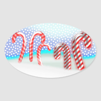 Candy Cane Forest Christmas Oval Sticker