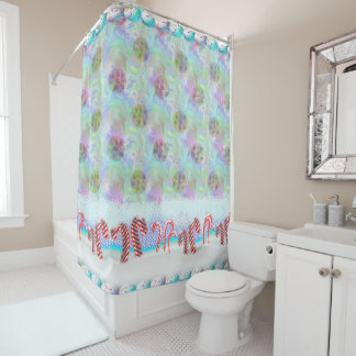 Candy Cane Forest With Magic Cookie Sugar Snowfall Shower Curtain