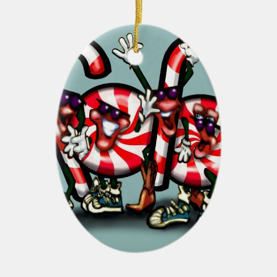 Candy Cane Gang Ceramic Ornament