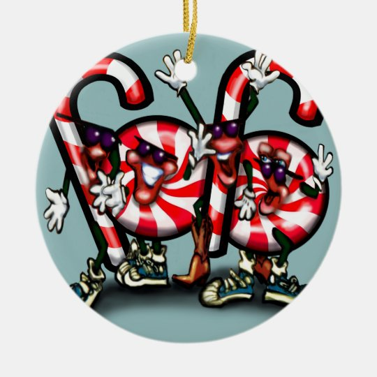 Candy Cane Gang Ceramic Ornament