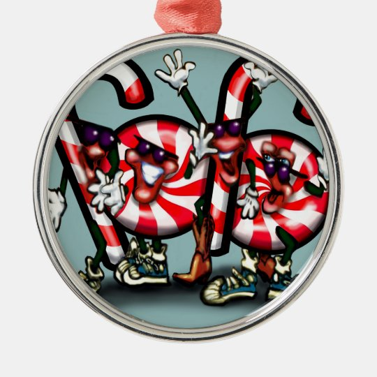 Candy Cane Gang Metal Ornament