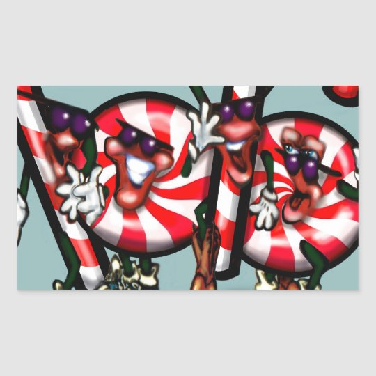 Candy Cane Gang Rectangular Sticker