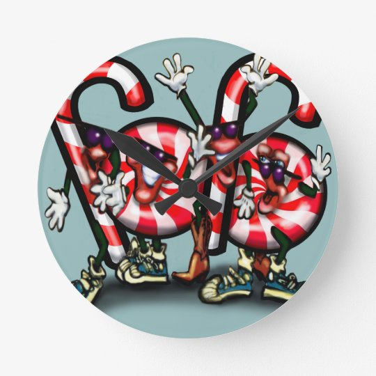 Candy Cane Gang Round Clock