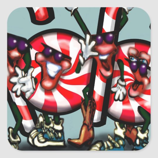 Candy Cane Gang Square Sticker