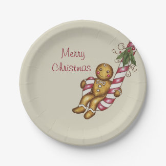 Candy Cane Gingerbread Boy Paper Plates 7 Inch Paper Plate