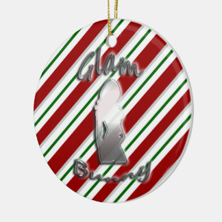 Candy Cane Glam Bunny Logo Holiday Ornament