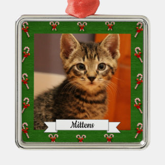 Candy Cane Green Frame Customizable Kitty Metal Ornament