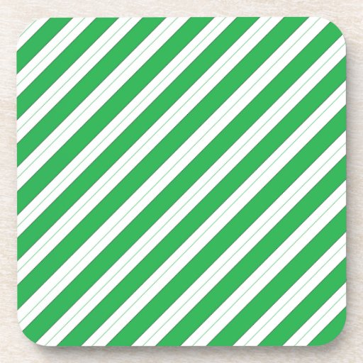 Candy Cane Green Stripes Beverage Coasters