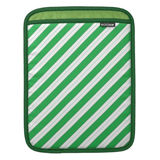Candy Cane Green Stripes Sleeve For iPads