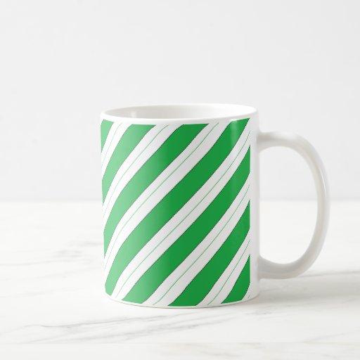 Candy Cane Green Stripes Coffee Mugs