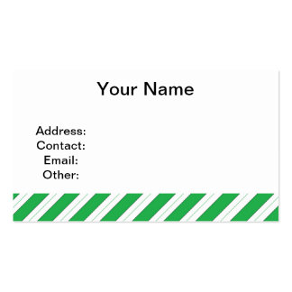 Candy Cane Green Stripes Pack Of Standard Business Cards