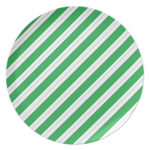 Candy Cane Green Stripes Party Plates