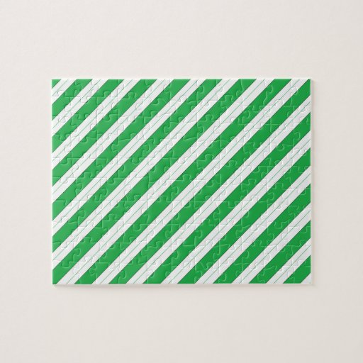 Candy Cane Green Stripes Jigsaw Puzzles