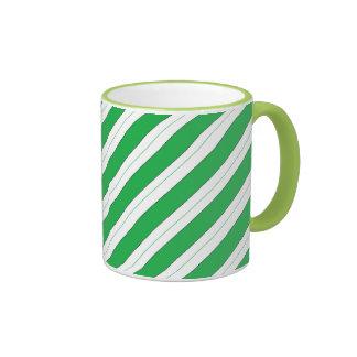 Candy Cane Green Stripes Ringer Mug