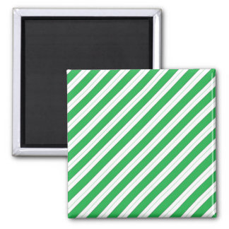 Candy Cane Green Stripes Square Magnet