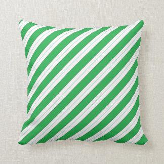 Candy Cane Green Stripes Throw Pillow