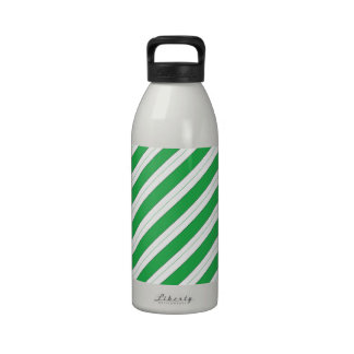 Candy Cane Green Stripes Drinking Bottle