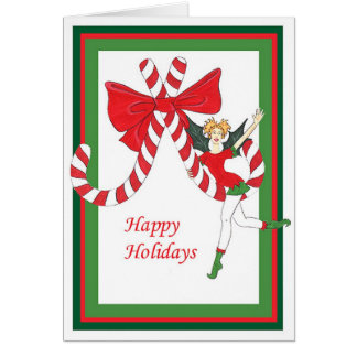 candy cane happy holidays greeting card