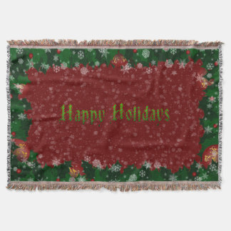 Candy Cane Happy Holidays Throw Blanket