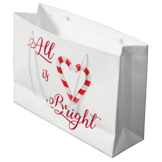 Candy Cane Heart All is Bright Colorful Red White Large Gift Bag