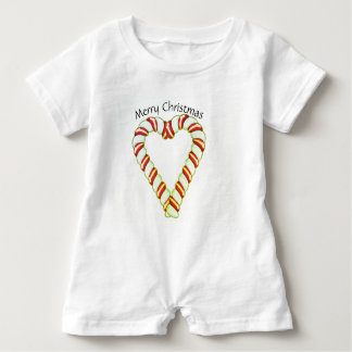 Candy Cane Heart Baby Bodysuit