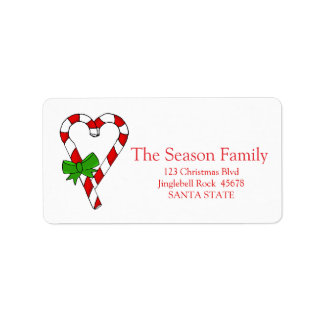 Candy Cane heart Christmas address label