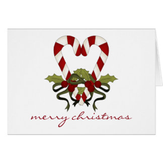 Candy Cane Heart Christmas Card - Personalized