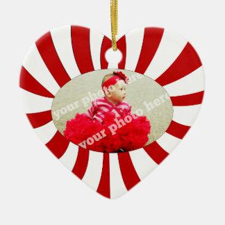 Candy Cane Heart Custom Photo Christmas Ornament