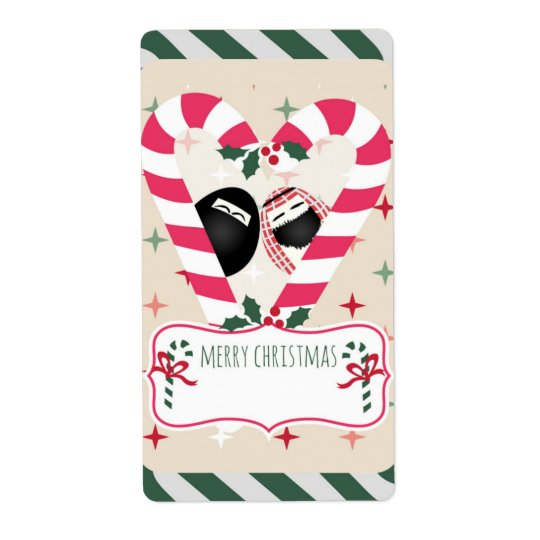 Candy Cane Heart Mr. & Mrs. Egg Gift Labels