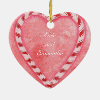 Candy Cane Heart Wedding Ornament, Personalized Ceramic Heart Decoration