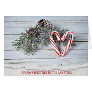 Candy Cane heart with pine on wood Card