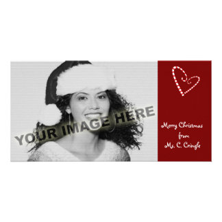 Candy Cane Hearts Customizable Photo Card