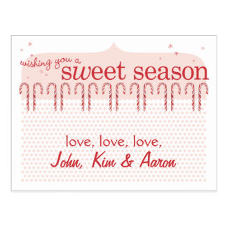 Candy Cane Holiday Card Postcard