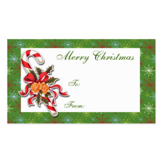 Candy Cane Holiday Gift Tag Business Card Template
