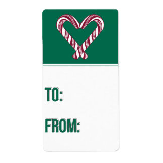 Candy Cane Holiday Gift Tag Shipping Label