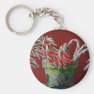 Candy Cane Holiday Greetings Basic Round Button Key Ring