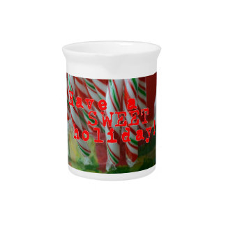 Candy Cane Holiday Greetings Pitcher